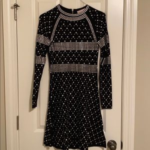 Michael Kors, S,dress,Knit black,silver grommets.